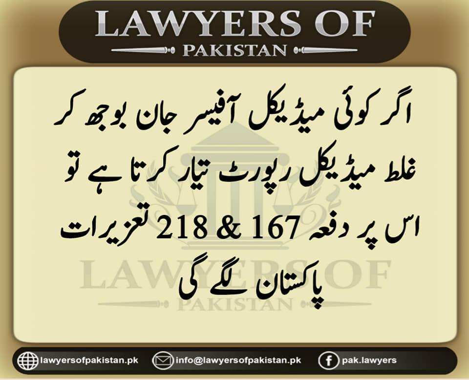 Case Law in Urdu Rule 218 & 167